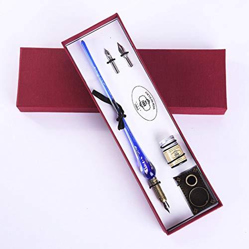 Sipliv penna stilografica artigianale in vetro cristallo dip penna vintage calligrafia calligrafia penna per compleanno regalo di natale arte decorazione set, blu