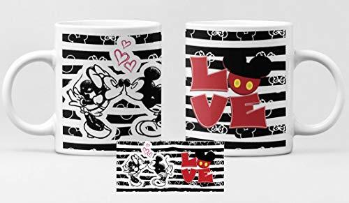 Taza Mickey y Minnie Mouse Love. Taza cerámica de café Disney, Dia de San valentín, Enamorados