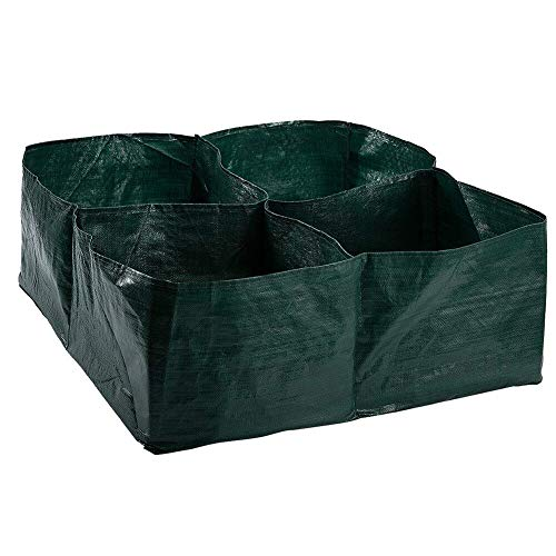 Asoaso 4 Grids Green Pe Plastic Grow Bag Plant Flower Nursery Vegetable Greenhouse Planter Garden Orchard - Bags Root Seedling Compost Container Green Vegetables Trees Garden Herbs H