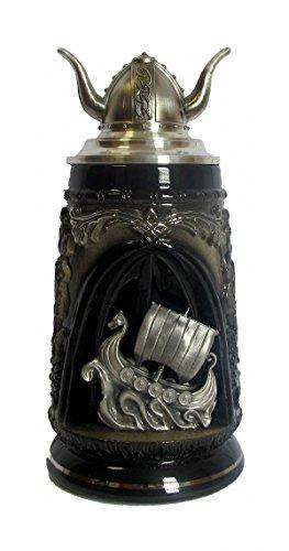 KING Jarra de Cerveza Alemana con una tapadera de estaño, Negra, 0,5 litros
