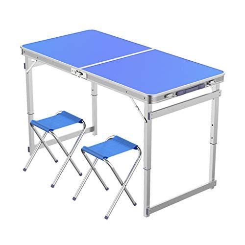 Table de camping pliable avec 2 tabourets pliants Chaise de camping Portable à hauteur réglable en aluminium 4 pieds, Table de camp de pique-nique intérieur et extérieur léger ( Couleur : Bleu )