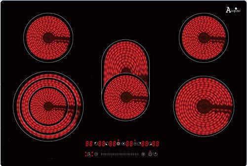 Kochfeld 77cm autark, 5 Zonen, rahmenlose Ausführung, Touch-Slider, Timerfunktion, Überhitzungsschutz, Bräterzone, Dreikreiszone, Acopino KM5