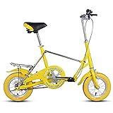 Xiaoyue Mini Folding Bikes, 12-Zoll-Single Speed Super Compact faltbares Fahrrad, High-Carbon Stahl Leichtes Gewicht Faltrad mit Rück Carry-Rack, Gelb lalay (Color : Yellow)