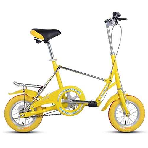 CWZY Mini Folding Bikes, 12 Inch Single Speed Super Compact Foldable Bicycle, High-carbon Steel Light Weight Folding Bike with Rear Carry Rack,Yellow