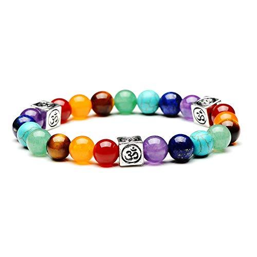 Beads Bracelet, Natural for Women Crystal for Healing Positivity Anxiety Chakra Bracelet Semi Precious Gemstone Bracelet for Calming Gift for Christmas,B