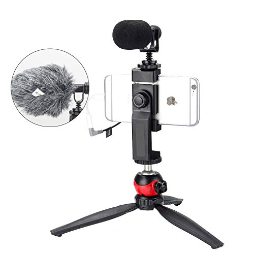 EACHSHOT Smartphone Phone Video Film Filmmaking Recording Microphone Vlogging Kit Filmmaker Mini Tripod with Shotgun Video Mic Video Rig for iPhone 11 Pro Max X 8 Plus 7 Plus Samsung Huawei etc.