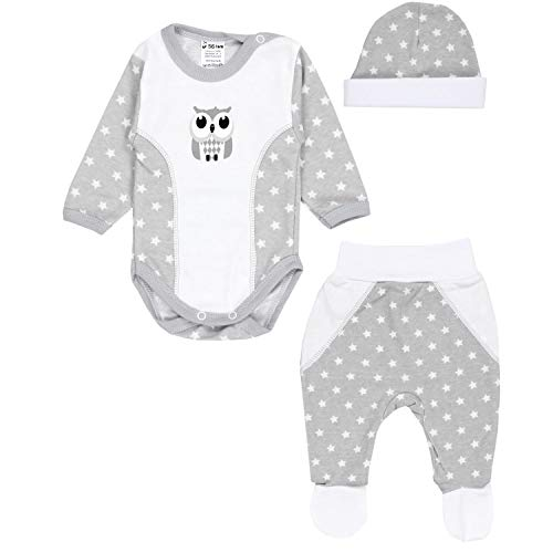 TupTam Baby Kleidung Set Body Strampelhose Mütze Teddybär, Farbe: Eule Sterne Weiß/Grau, Größe: 56