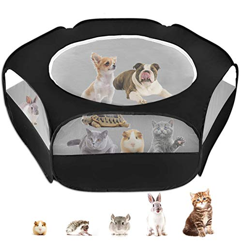 Small Animal Cage Playpen, Pet Playpen with Top Cover Anti Escape Foldable Breathable Transparent Yard Fence for Dog Cat Bunny Puppy Rabbits Guinea Pig Hamster Chinchillas (Black)