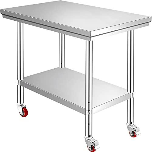 VEVOR Arbeitstisch 900 x 600 x 800 mm Edelstahl Catering Arbeitstisch Belastbarkeit 260 kg, Lebensmittel Zubereitungstisch mit Nachlauf Gewerbliche Arbeitstisch für Küche Bar 4 verstellbare Füße