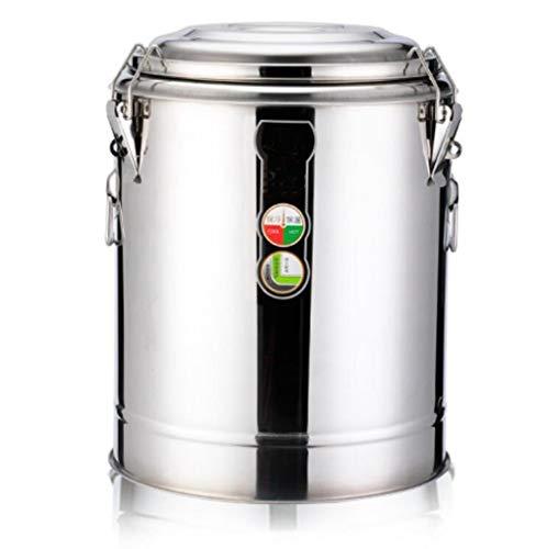Elektrischer Warmwassereimer Kommerzielles, isoliertes Fass mit großem Fassungsvermögen, offener Eimer aus Edelstahl 304 mit Wasserhahn (Color : Silver, Size : 50L)
