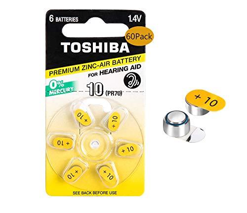 Toshiba Premium Zinc Hearing Aid Batteries14V Size 10PR536 60Count