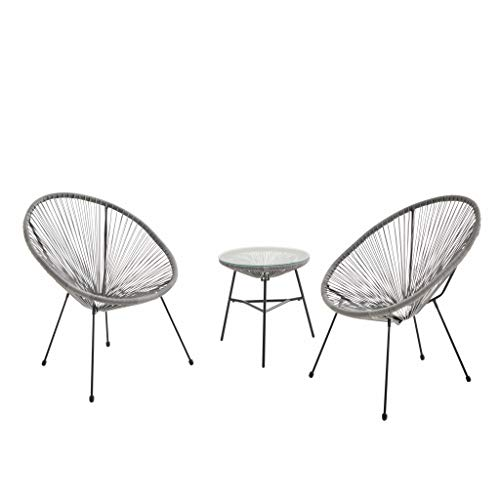 Alice's Garden Lot de 2 fauteuils Acapulco Forme d'oeuf avec Table d'appoint - Taupe - Fauteuils 4 Pieds Design rétro, avec Table Basse, Cordage Plastique, intérieur/extérieur