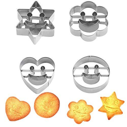 Inoxidable Cookie Cutter Juego Mini Juego Cortadores De Galletas Galletas De Forma Geométrica Cortador Galletas Pequeño Acero Inoxidable Para Galletas, Sándwiches, Queso o Arcilla Artesanal (4 Piezas)