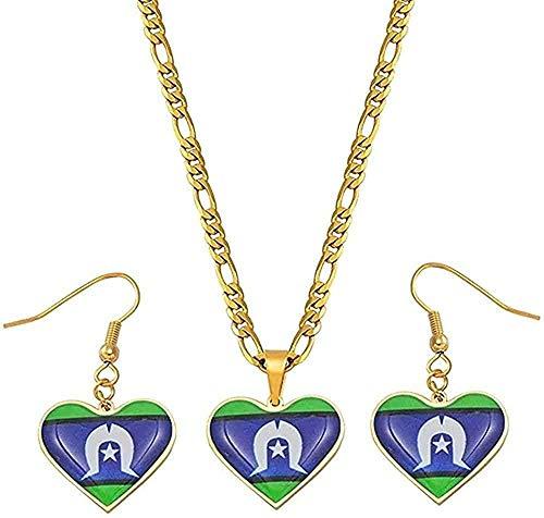 YOUZYHG co.,ltd Collar Conjuntos de Joyas Collares Pendientes Pendientes Mujeres Niñas Joyería de Papúa Guinea Bandera Longitud 60 cm X 3 mm Collar