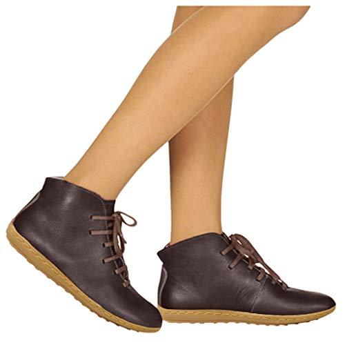 DNOQN Winterschuhe Damen Boots Stiefeletten Komfortable Runde Kappe Schnürschuhe mit Niedrigen Absätzen Freizeitschuhe Ankle Booti X83 39