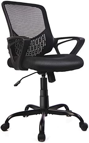 Office Chair Mid Back Swivel with Ergonomic Lumbar Support/Padded Seat Cushion/Height Adjustable, Black