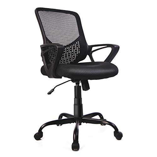 Home Office Chair, Mid Back Desk Chair Ergonomic Computer Chair Executive Rolling Swivel Height Adjustable Mesh Task Chair with Lumbar Support Armrest (Mesh Back, Black)