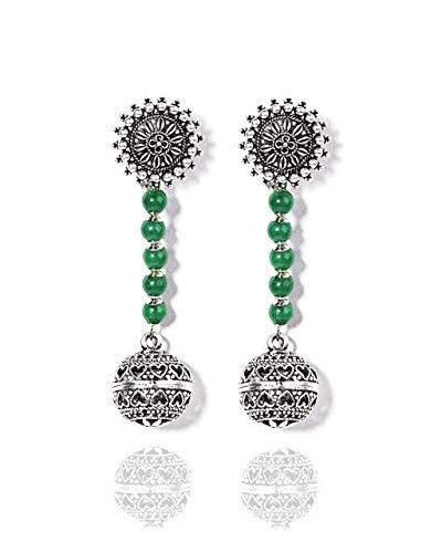 VintFlea Auténticas piedras preciosas oxidadas colección fusión – pendientes de gota de bola étnica de jade verde para mujer