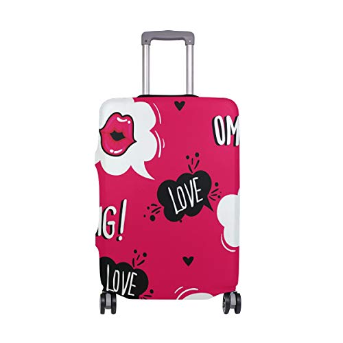 Travel Luggage Cover Protector Love Mouth Lips Suitcase Baggage Cover Spandex for Adult Women Men Teen Fits 22-24 Inch