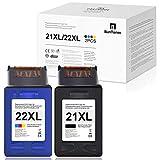 Cartuchos de Tinta reciclados BunToner HP 21XL 22XL para HP 21XL 22XL para HP Deskjet D1560 F375 F370 D1450 D1460 Officejet 1410 4314 J3600 J3606 J3625 PSC 1402 1410141 (1 × Negro, 1 × Color)