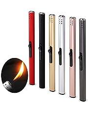 Pitaya 6 STKS Kaars Aansteker Navulbare Gas Aansteker Lange Butaan Aansteker Gaskachels Brandaansteker Met Meerdere Kleuren voor BBQ Camping (GEEN GAS IN IT)