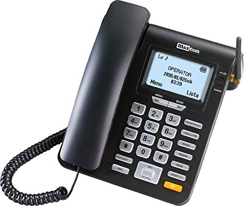 Maxcom MM 28 D HS- Teléfono Fijo GSM de Escritorio con Tarjeta Sim Función SMS, Negro