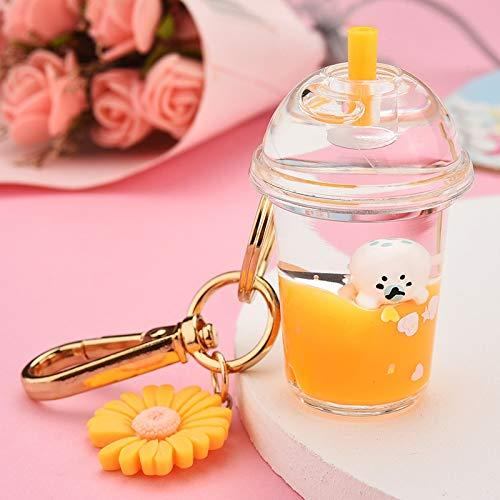 XKMY Llavero para manualidades creativas bebidas de leche acrílico llavero móvil pingüino pato líquido llavero descompresión botella llavero llavero joyería niños regalos (color: naranja)