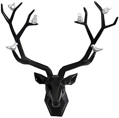 Sculpture de bureau Statue de cerf Statue Mur Suspending Tête Animal Tête Résine Craft Salon Chambre à coucher Jardin Accueil Décoration (Color : Black)
