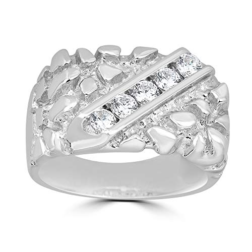 Harlembling Solid 925 Sterling Silver Men's Silver Nugget Ring - Iced Out - Pinky or Ring Finger - Sizes 7-13 (11)
