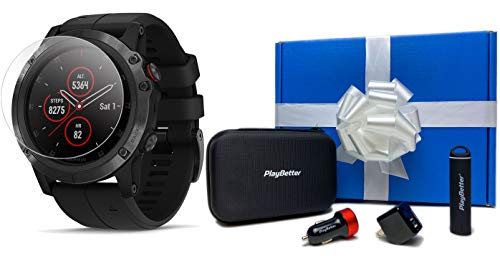 Learn More About Garmin Fenix 5X Plus+ Sapphire (Black) Gift Box Bundle | +Screen Protectors, PlayBe...