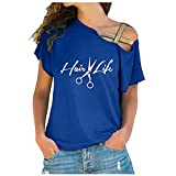 Summer Tops for Women Sexy One Shoulder Crisscross T Shirt Trendy Print Short Sleeve Tunic Tees Pullovers Blouse