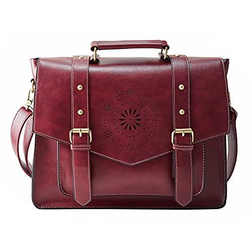 ECOSUSI Borsa Tracolla Donna Borsa Messenger Donna per Laptop 14'' Borsa Vintage per Lavoro Rosso