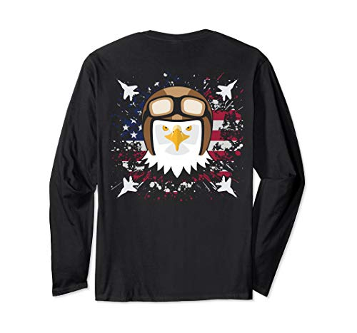 Bald Eagle Jet Fighter Pilot Clipart Graphic US Flag On Back Long Sleeve T-Shirt
