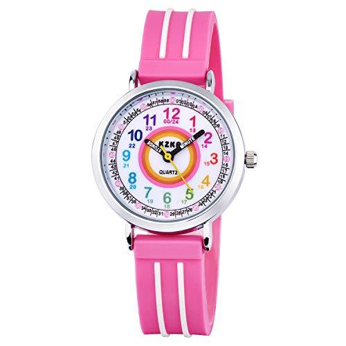 KZKR Kinderuhr Mädchen Armbanduhr Quarz Analog Einfach-Lesen Lernuhr Rosa Mädchenuhr Geschenk Uhr (Rosa)