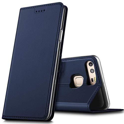Verco Handyhülle für P9, Premium Handy Flip Cover für Huawei P9 Hülle [integr. Magnet] Book Case PU Leder Tasche, Blau