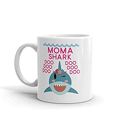 """Shark Moma"" Unique Ceramic Coffee Mug/Cup (11 oz.) — Birthday Mother's Day Christmas Gift For Mom Mother Grandma"