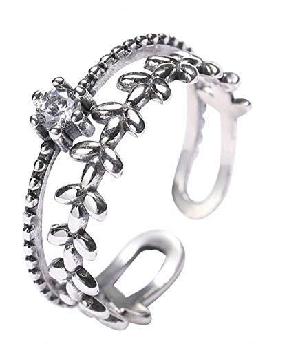 Anillo Lotus Fun S925 de plata de ley con ramas de mimbre y circonitas, anillo de cola, anillo ajustable y abierto, joya de temperamento para mujeres y niñas