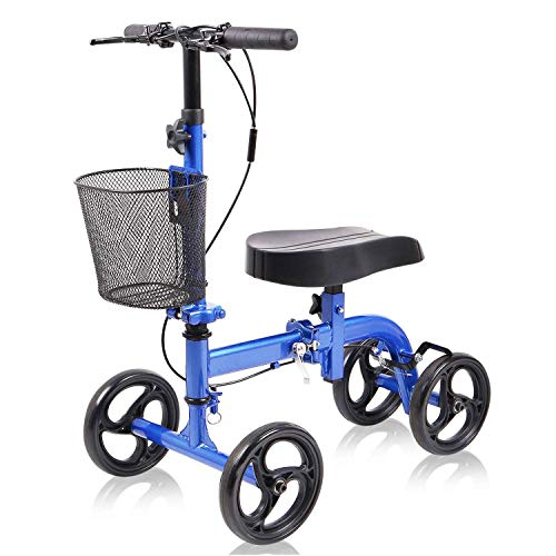 WINLOVE Blue Steerable Knee Walker Roller Scooter with Basket Dual Braking System for Angle and Injured Foot Broken Economy