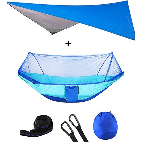 DFYUTJ Hammock outdoor indoor garden Outdoor Automatic Quick Open Mosquito Net Hammock Tent With Waterproof Canopy Awning Set Hammock Portable Pop-Up (Color : Blue blue awning)
