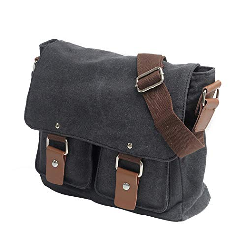 wdede Vintage Canvas Messenger Bag Small Crossbody Bag Casual Travel Working Tools Bag Shoulder Bag Laptop Bag Messenger Bags Black