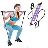 Charminer Barra de Pilates portátil con Banda de Resistencia para Yoga Pilates, Kit de Ejercicios Stick Bodybuilding con Lazo para los pies para Entrenamiento Corporal Total