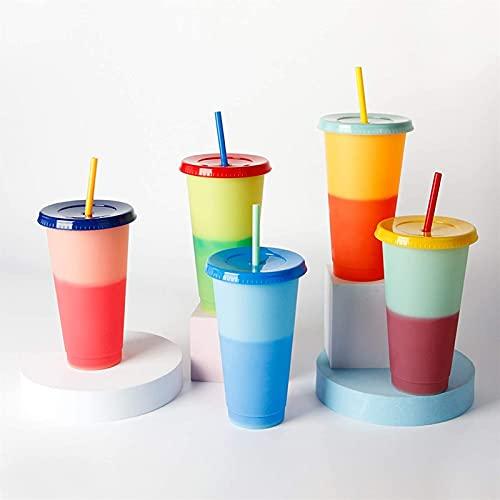 ZZDH Vaso Pajita Tapa Cambian Color Conjunto de 5 tazas de cambio de color cuando se enfría con tapas y pajitas, tazas de café de plástico en blanco, tazas de café para niños cambiando de vaso reutili