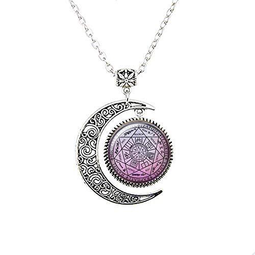 Collar con amuleto de protección de siete ángeles y luna, 7 ángeles