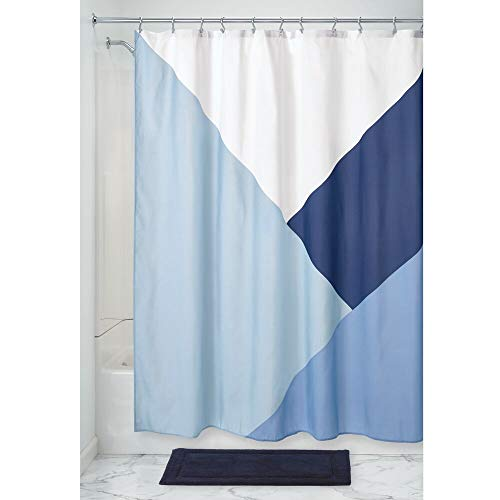 Price comparison product image iDesign Colourblock Shower Curtain,  Patterned Wide Shower Curtain for the Bath Made of Polyester with Reinforced Eyelets,  Blue