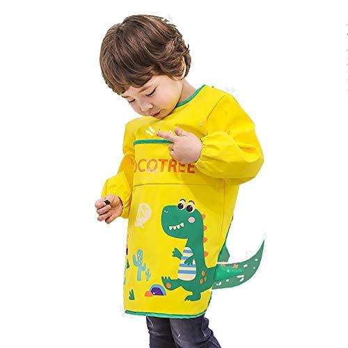 YUDIZWS Niños Monos Niños Comer y Pintar Delantales, Impermeable y a Prueba de Suciedad, Ropa Exterior Ideal para niños y niñas,Amarillo