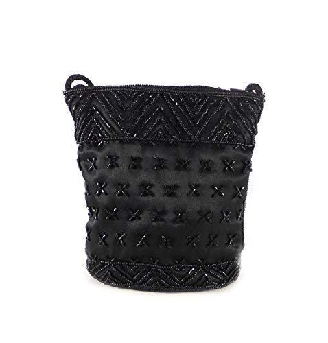 Bolso bandolera mini pedrería color negro o blanco, bolso bombonera para fiestas o eventos cierre de cremallera bandolera cordón al tono (Negro)