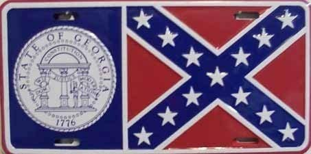 TGDB Georgia Flag License Plate Size 6x12 inch
