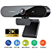2K Webcam with Dual Microphone, DEPSTECH 4MP QHD USB Web Camera with Auto Light Correction for Video Calling Recording Conference/Zoom Meeting/Online Teaching/YouTube Skype FaceTime/Gaming (Renewed)