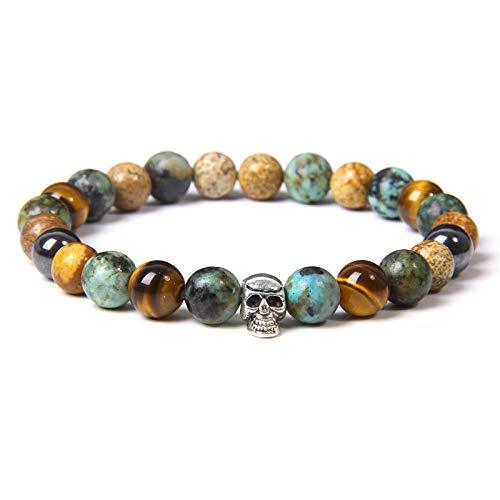 KKMAOMAO Chakra Natural Bracelet,Bracelets Men Natural Chakra Stone Beads Bracelet Malachite Brown Tiger Eye Bangle For Women Color Charm Jewelr