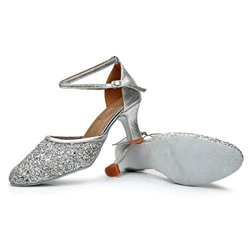 VASHCAMER – Damen Tanzschuhe Hoher Absatz Standard/Latein/Ballsaal 7CM Silber - 5
